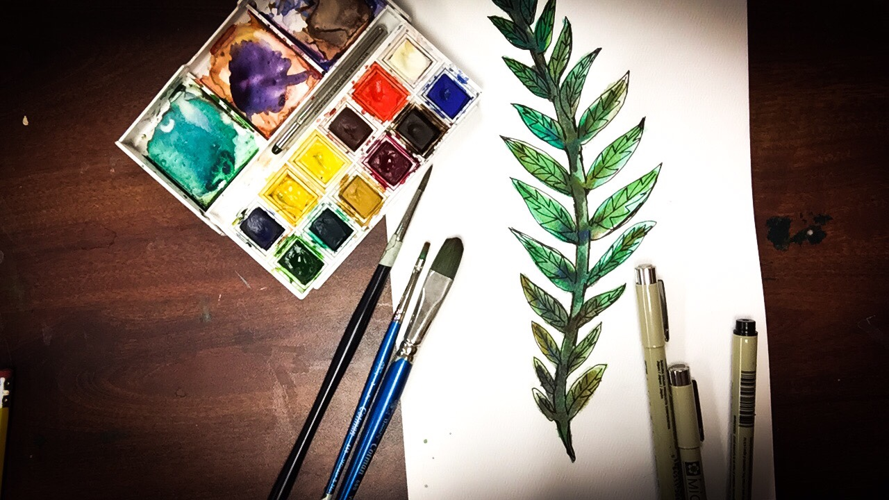Time lapse watercolor painting of a fern with Micron pen details.