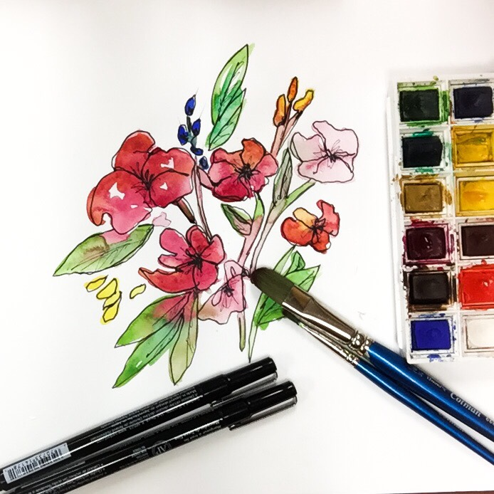 Time-lapse flower watercolor painting with prismacolor pen.