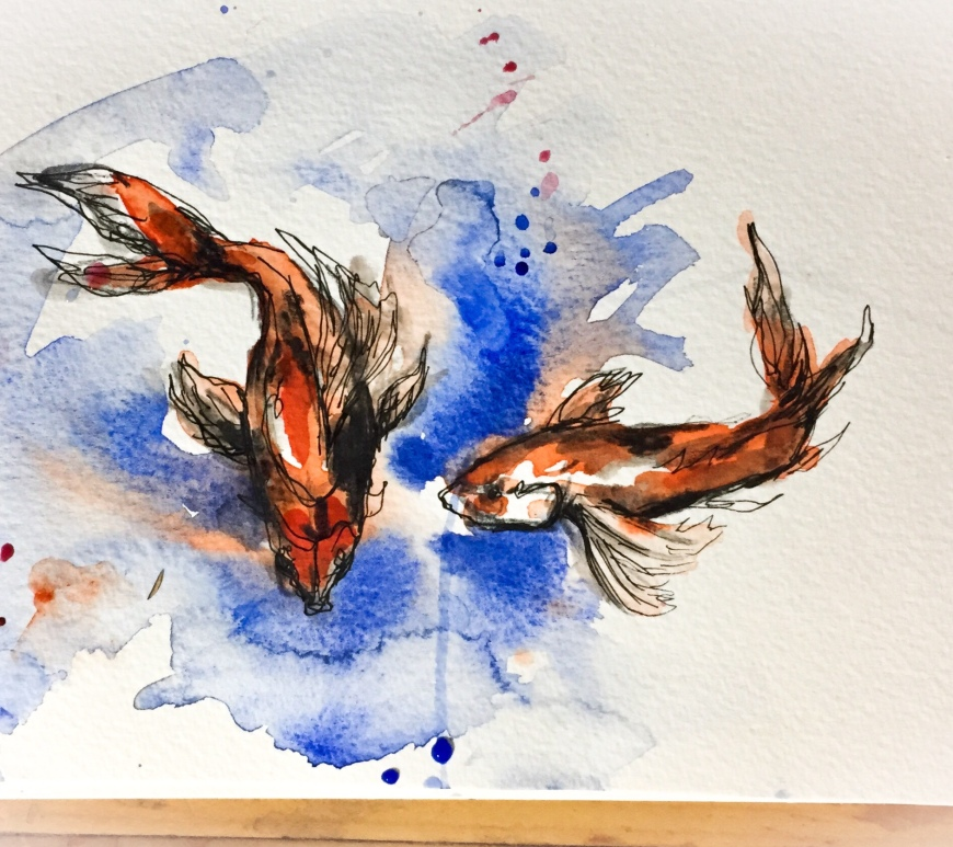 Watercolor fish time lapse painting. After looking at several Matisse still life paintings with goldfish with my students I was inspired to paint fish myself! Watercolor is a great medium for fish and adding pen at the end tightens up this sketch.