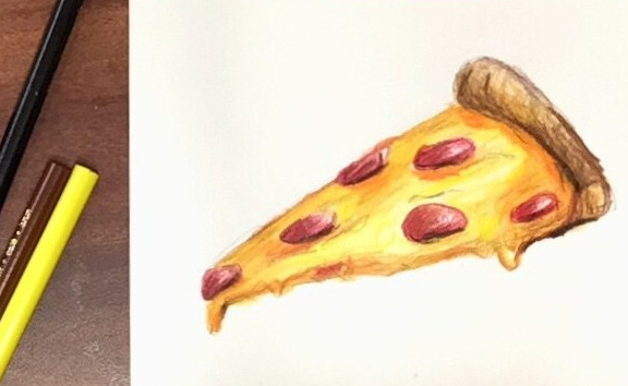 A colorful drawing of pizza using colored pencils. Daily Doodle by That Art Teacher.