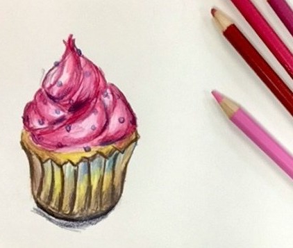 A colored pencil drawing of a cupcake that makes me hungry. What inspires you to draw?