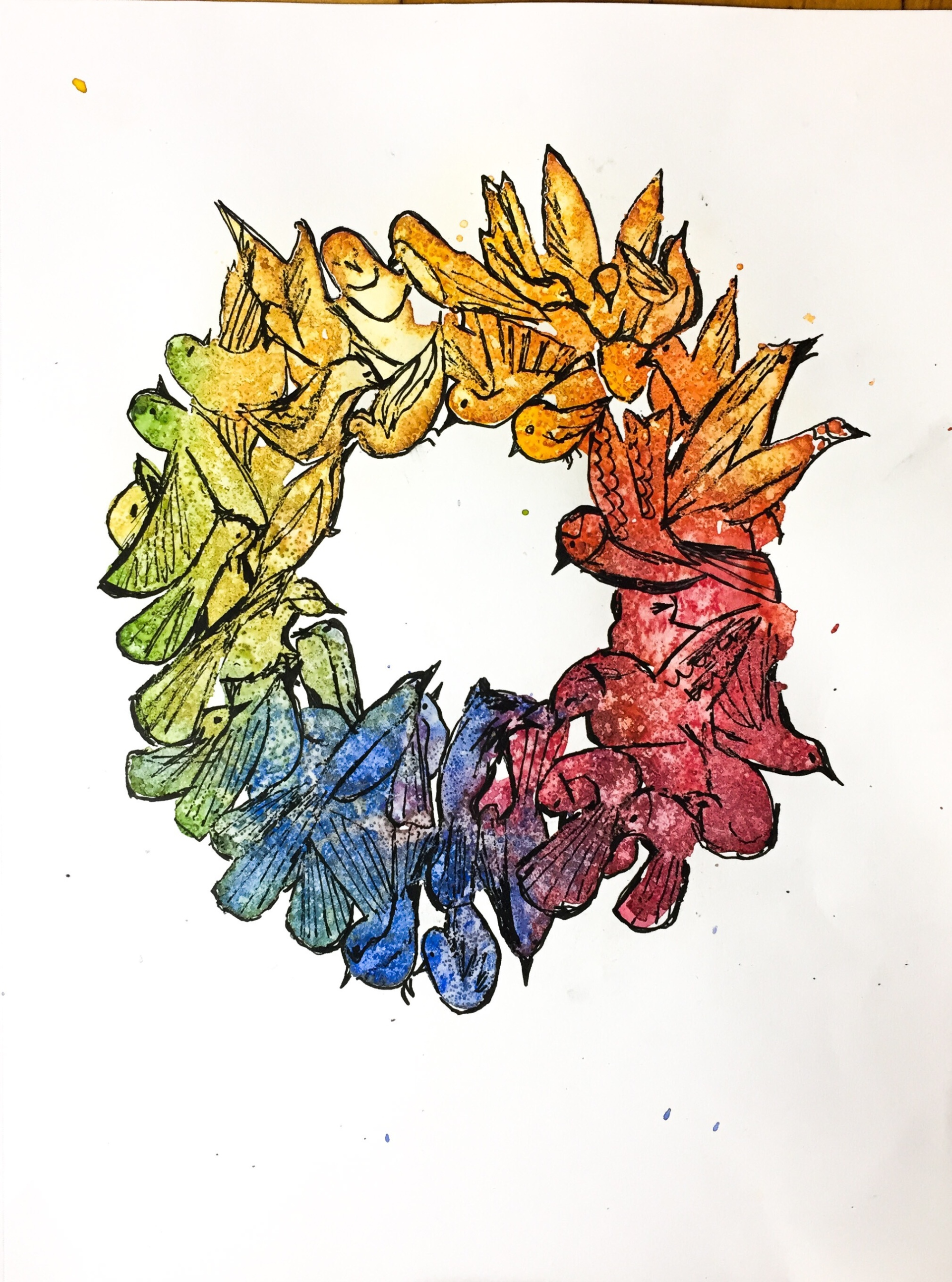 Watercolor time lapse painting. This started with blobs of paint and ended with a wreath of birds.