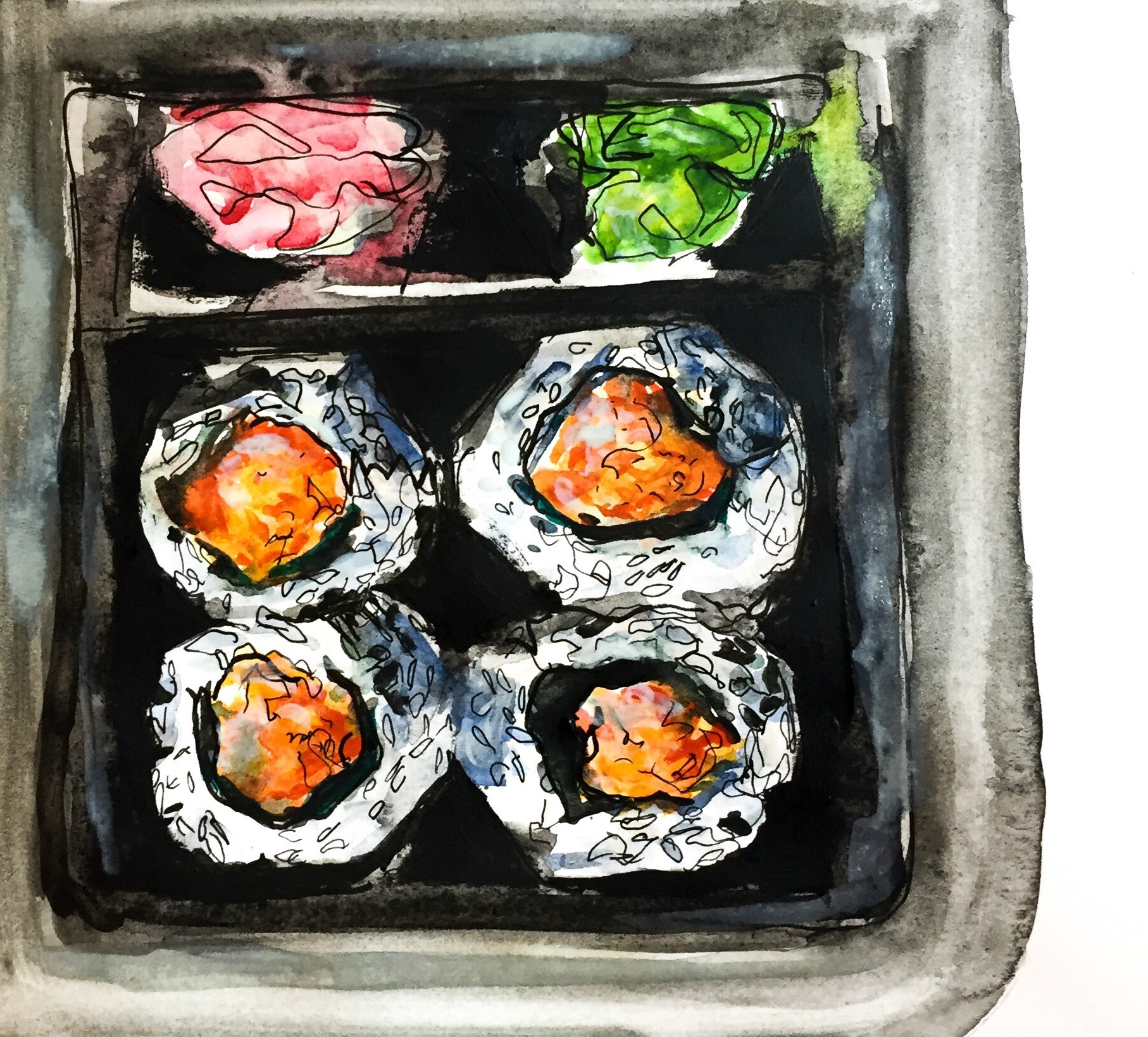 Time lapse watercolor sushi painting!