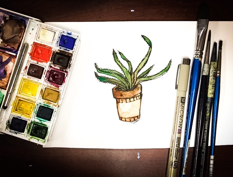 Watercolor tIme lapse aloe vera plant! Watercolor painting is so fun, easy and quick!