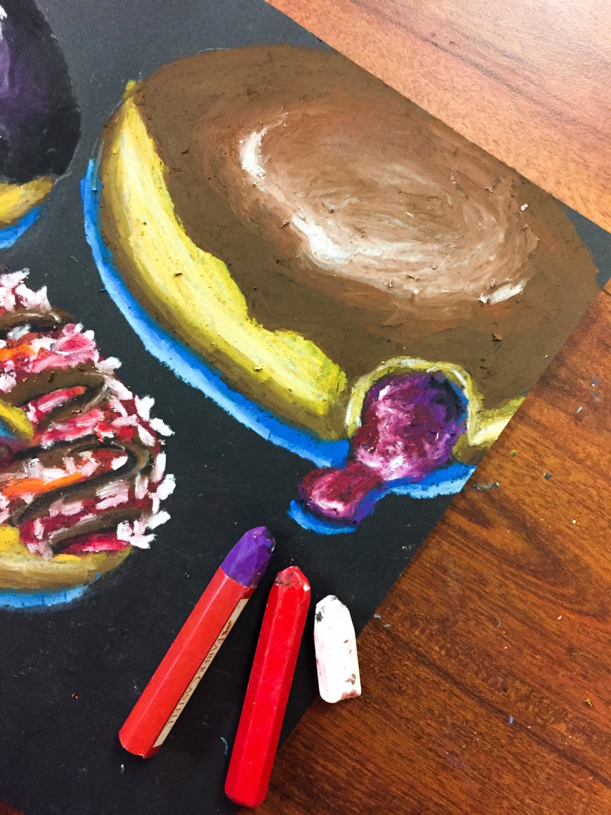 Oil pastel jelly donut tutorial!