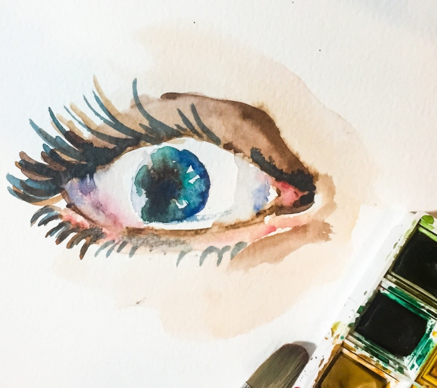 Time lapse watercolor eye painting!