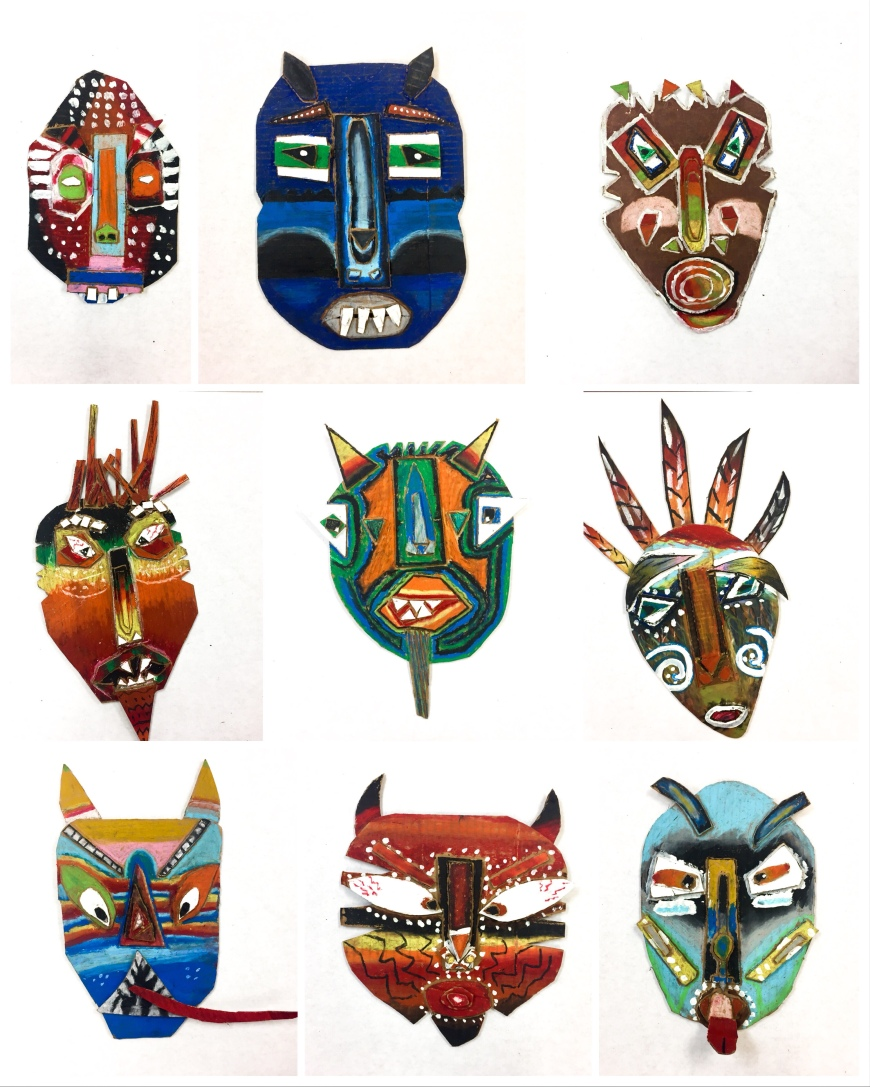 Art lesson plan and video tutorials! Expressive mask sculptures using cardboard and oil pastels. So many art history and cultural connections and great for art teachers on a budget!