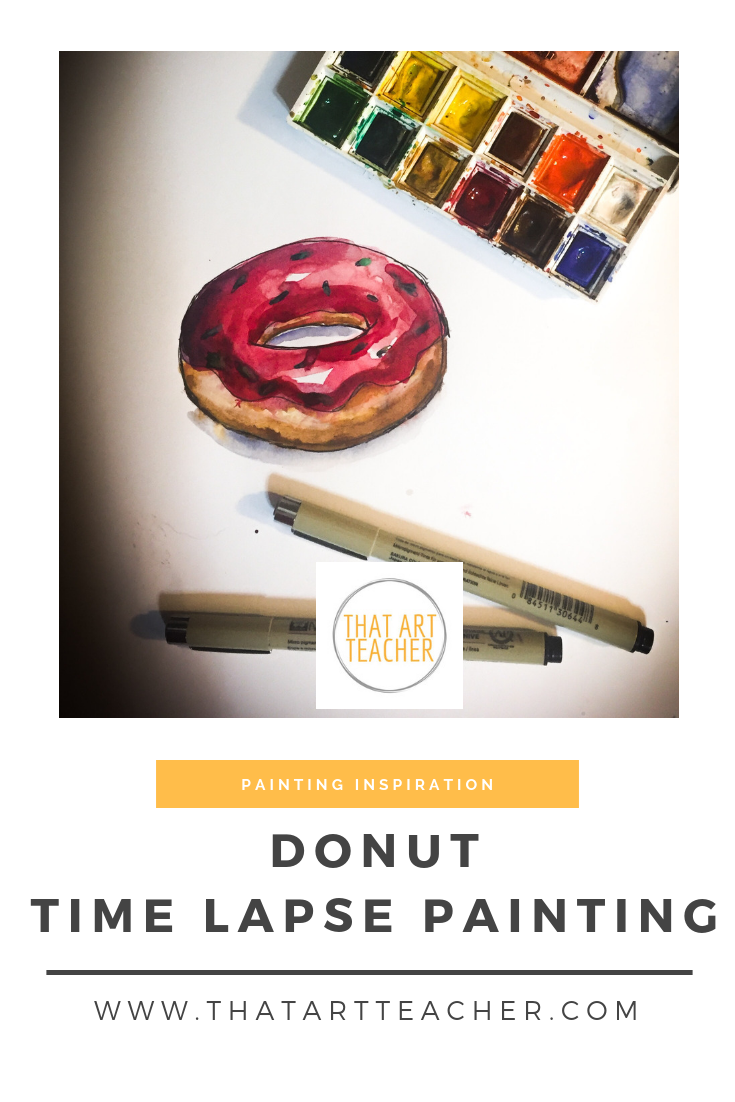 Watercolor is such a quick and fun way to paint. Time lapse watercolor donut painting!