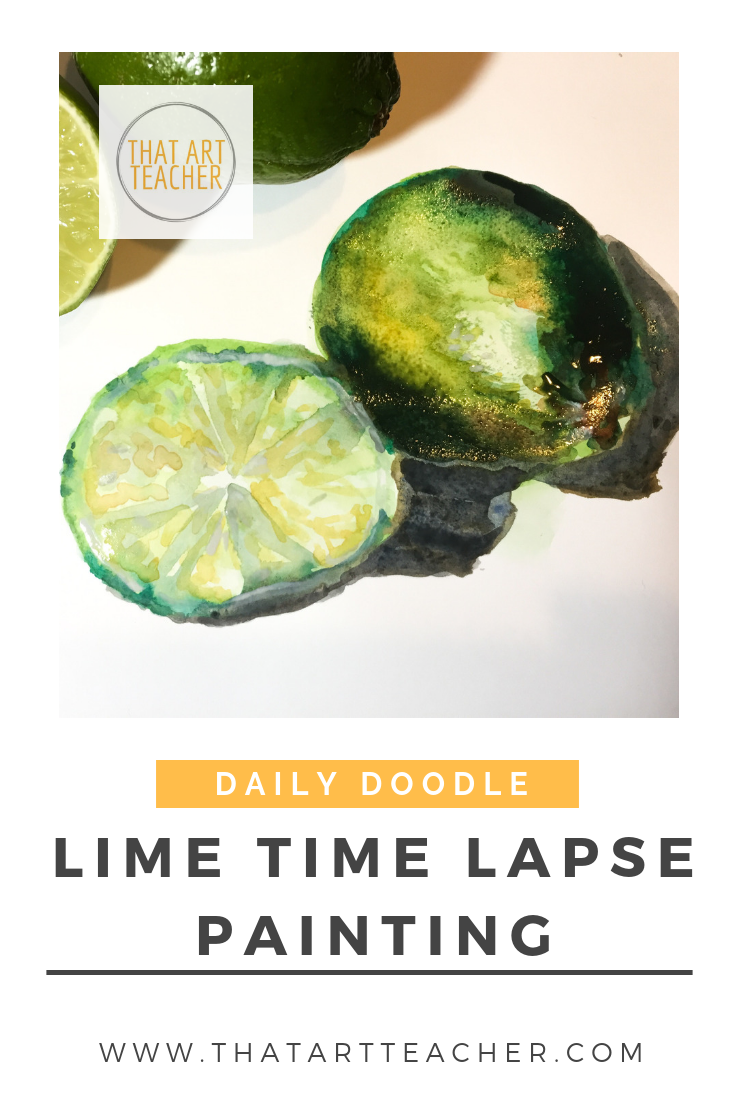 Watercolor time lapse lime painting.