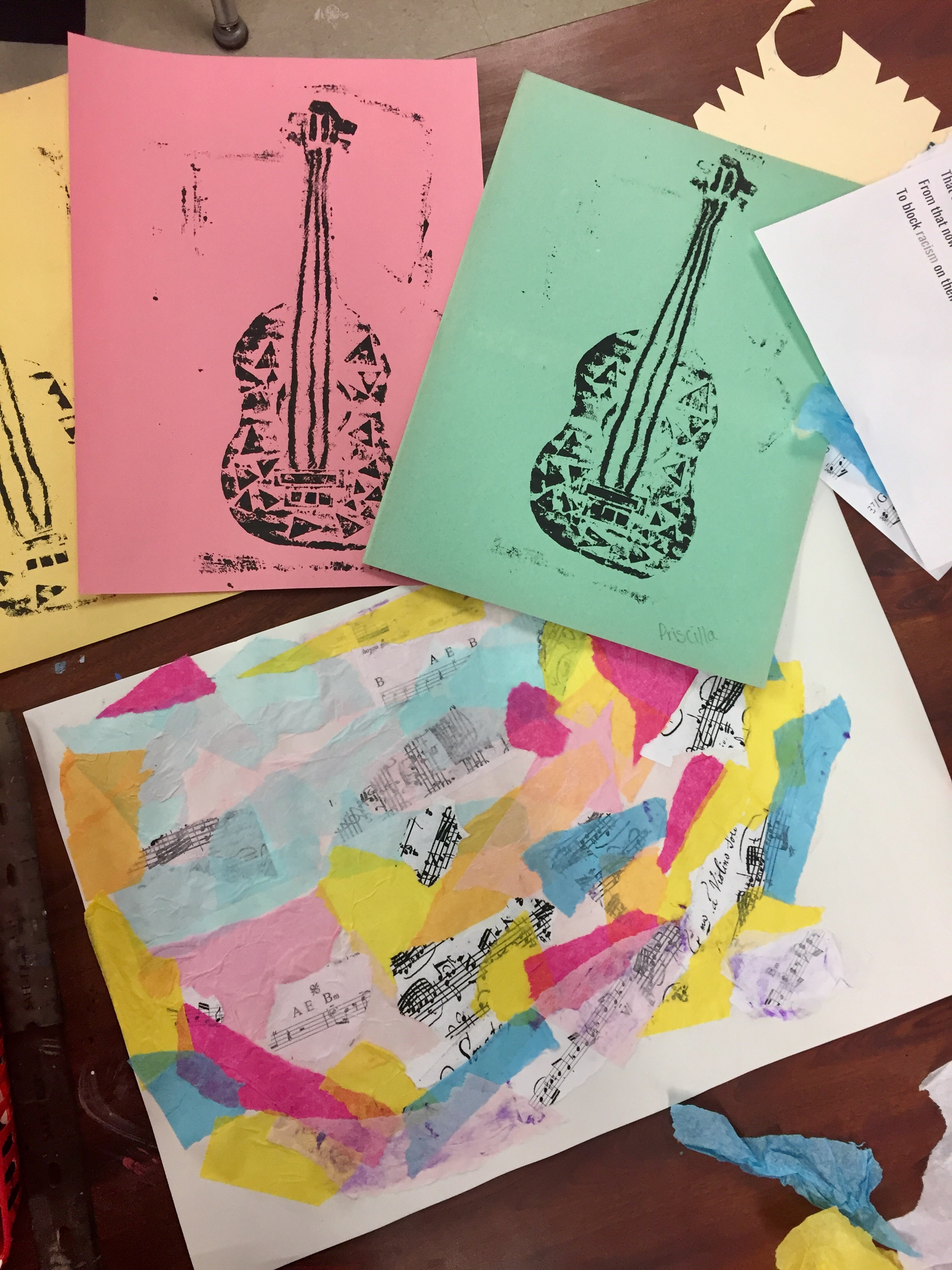 Jazz Printmaking & Collage Art Lesson Plan