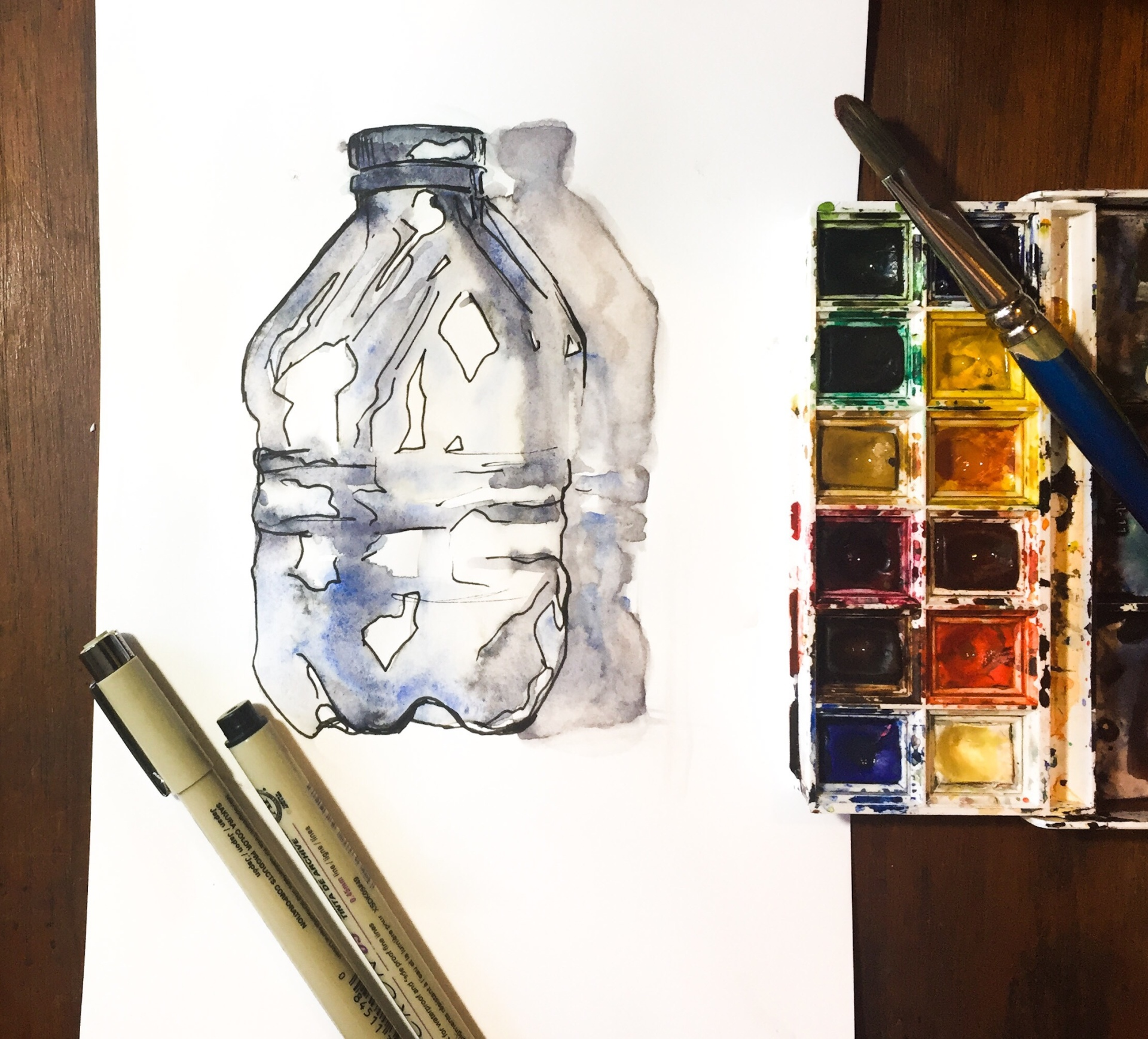 Learn how to paint the reflected light of a water bottle with this time lapse painting.