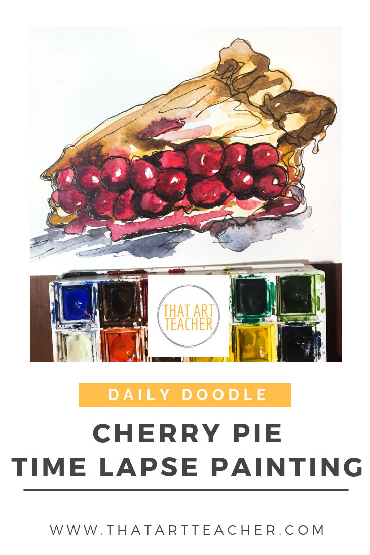 Learn how to use watercolor to make a delicious cherry pie!