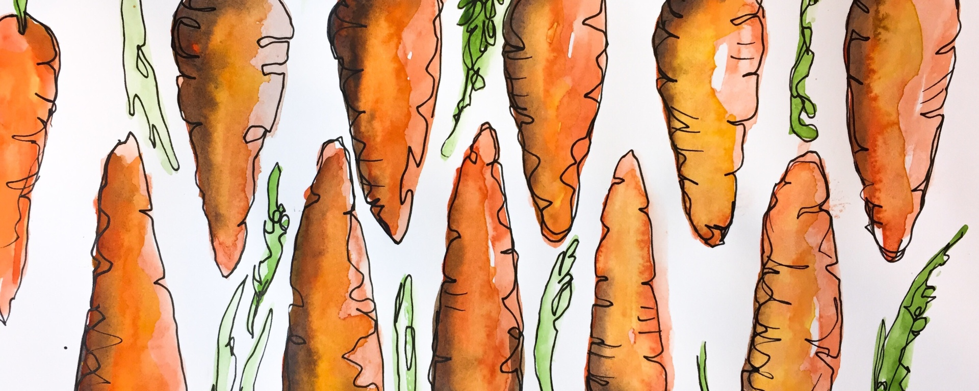 Learn how to paint a series of carrot creating a fun pattern with this watercolor time lapse painting.