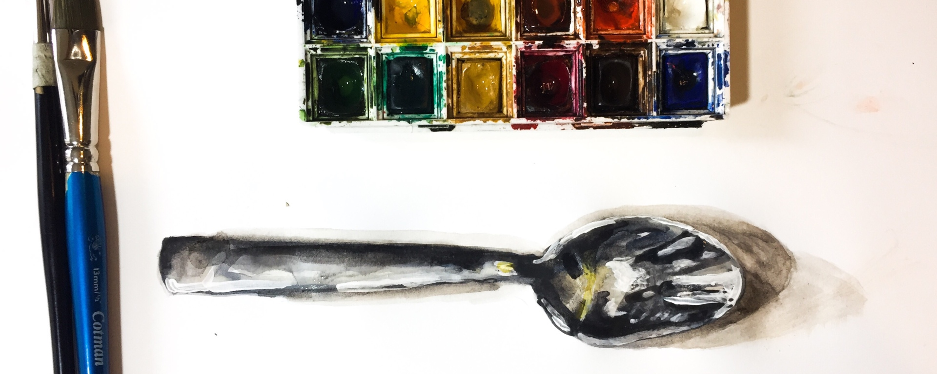 Learn how to paint the reflective light of a realistic spoon.