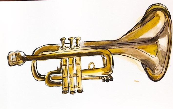Daily Doodle | Watercolor Trumpet